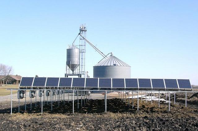 farm with solar panels photo