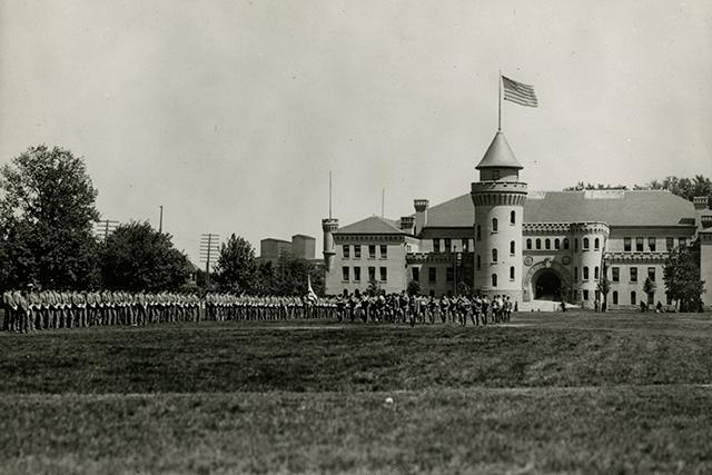 Cadets in front of the Armory building, c. 1900.