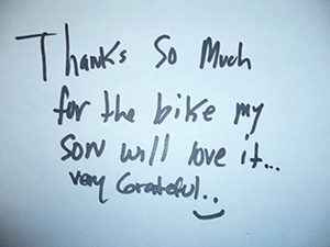 A thank you note from one of the families