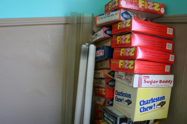 The couple found empty candy boxes (pictured here) and candy still in boxes insi