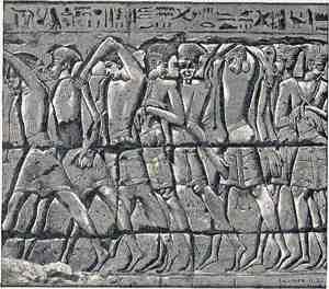 Sea People Captives, Battle of Djahy, Canaan, 1178 BC, Medinet Habu, Mortuary Temple of Ramesses III, Luxor, Egypt
