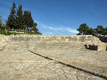 Phaistos: The theatral area, with the West Court and raised walkway