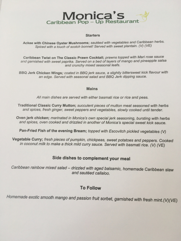 Menu for Monica Whyte's pop-up