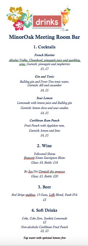 Bar menu for Monica Whyte's Pop-up