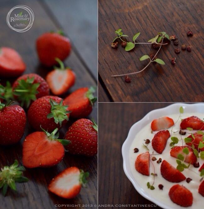 Yoghurt, strawberries and sichuan pepper
