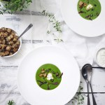 Low calorie spring recipe: wild garlic soup with creme fraiche and garlic croutons