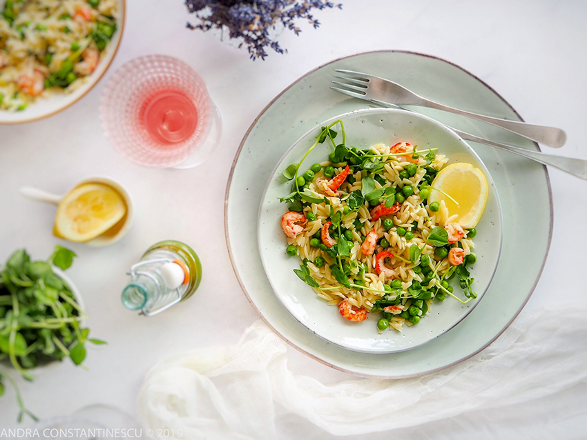 Light summer lunch featuring an easy orzo salad with crayfish and green peas. Serve for lunch, with a glass of chilled rose wine.