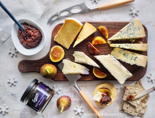 Cheese and chutney pairing with sticky fig chutney and a selection of cheeses.