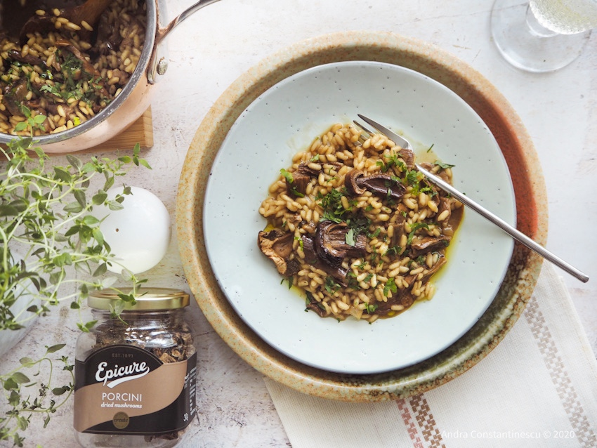 Dried Porcini Mushrooms #risotto #Vegan Recipe for #veganuary