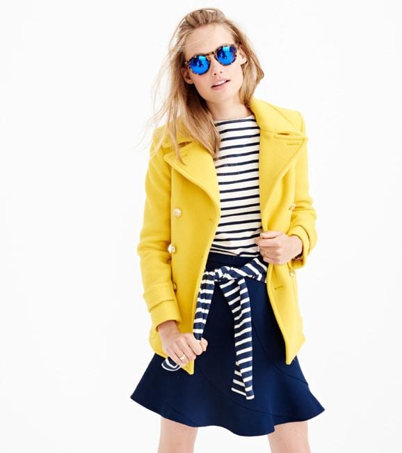 j.crew yellow coat