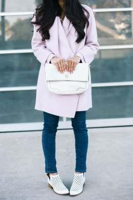lavender coat & white booties