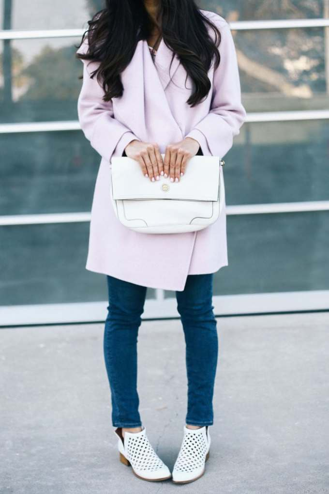 lavender coat & white booties