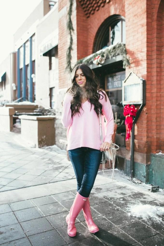 pink jcrew tunic sweater