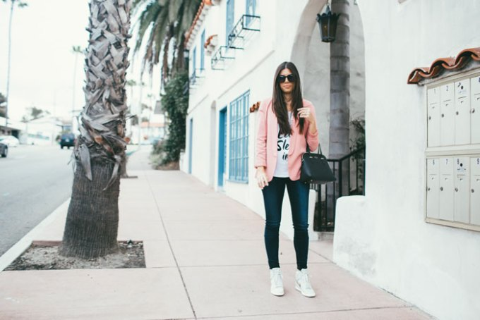 blazer and wedge sneakers
