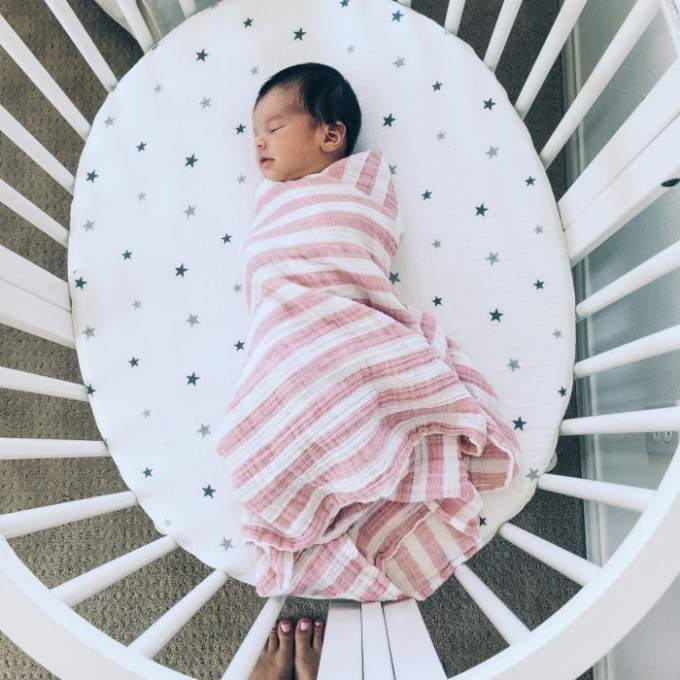 aden and anais heartbreaker pink stripe swaddle blanket