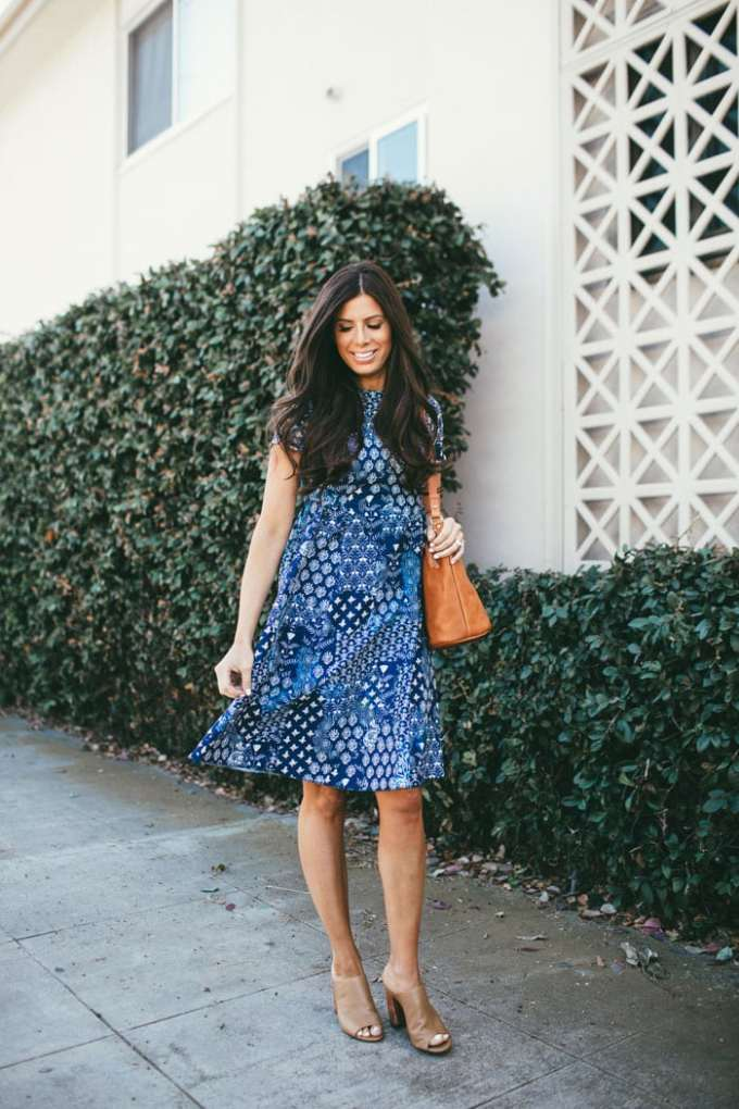 prettiest blue easter dress! love this paired with camel mules and a modern, minimalist bucket bag
