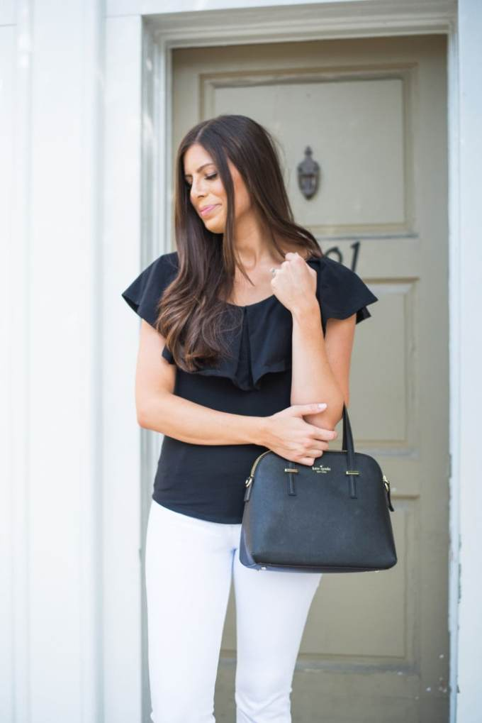 fitted shirt and white flares! so cute for a casual lunch or date night
