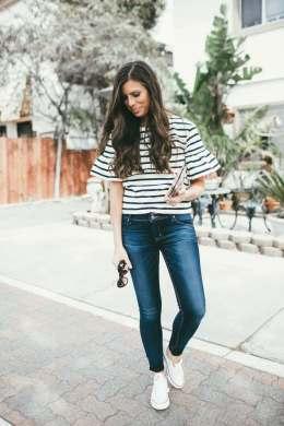 casual look striped peplum top