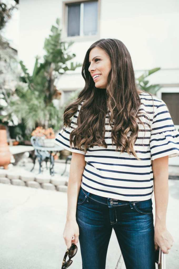 casual look striped peplum top
