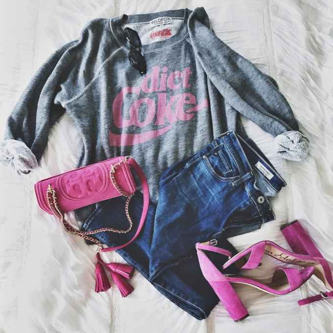 quick guide to shopbop's huge sale! Diet coke sweatshirt and hot pink accessories