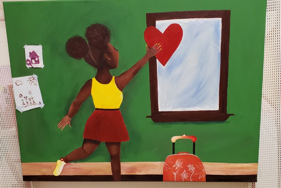 Girl with a heart painting by Alexis Bagley