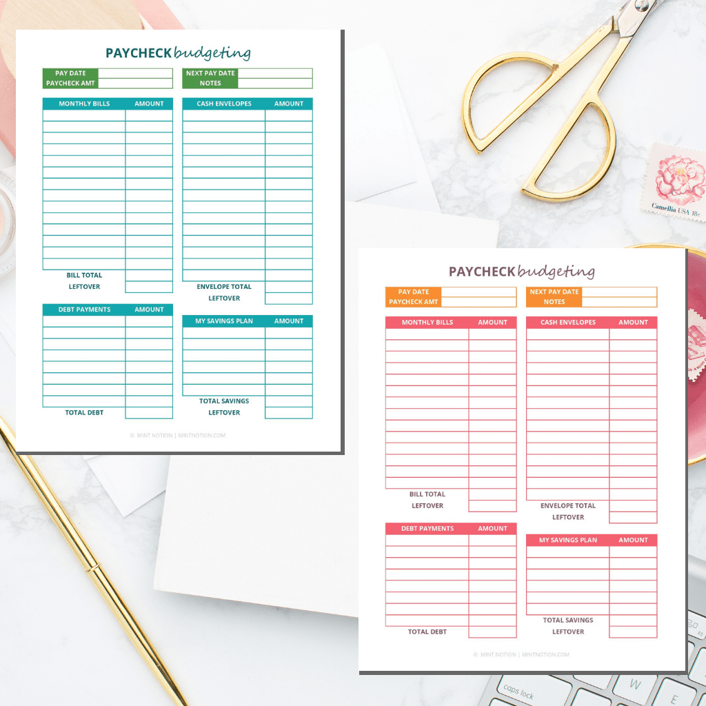 Paycheck Budgeting Printable Worksheet 1