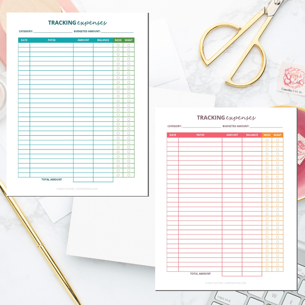 Tracking Expenses Printable Worksheet 1