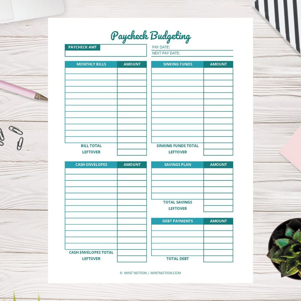 Paycheck Budgeting Printable