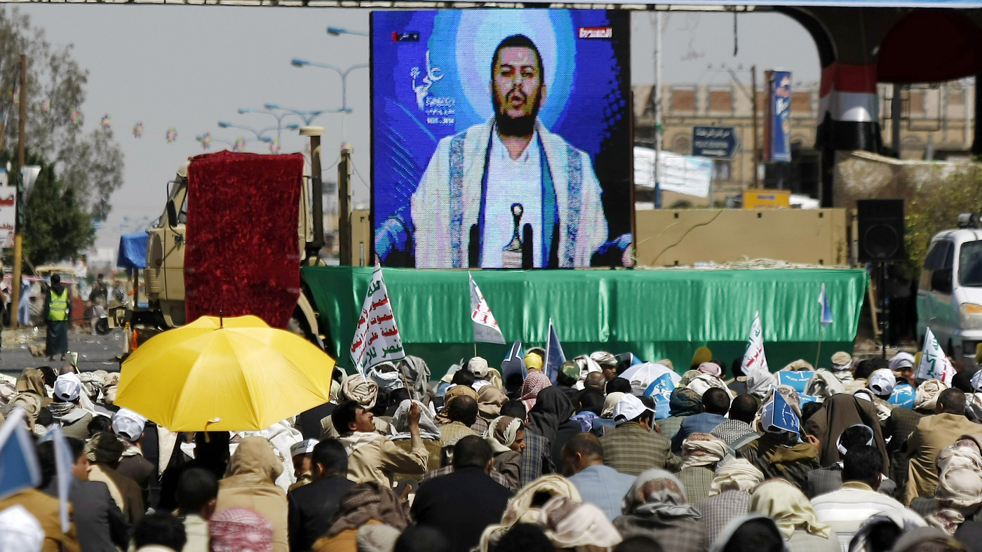 YemenMembers of the Houthi Shiite group watch a televised speech by the leader of Abdul-Malik al-Houthi, as they attend the annual Eid al-Ghadir festival in Sanaa, Yemen, Sunday, Oct. 12, 2014.   Photo: Hani Mohammed/AP