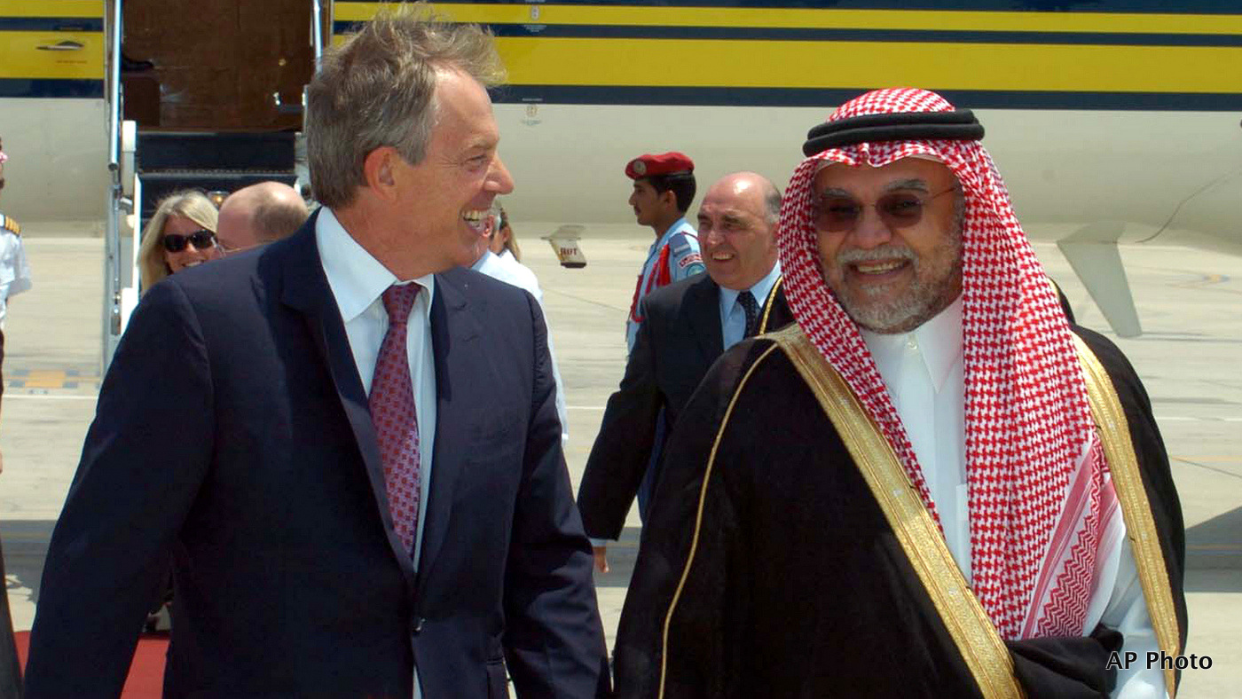 In this photo released by Saudi News Agency, Saudi Prince Bandar bin Sultan, right receives Mideast envoy Tony Blair, the ex-prime minister of Britain after his arrival in Jiddah, Saudi Arabia Monday, Sept. 3, 2007. (AP Photo/Saudi News Agency)