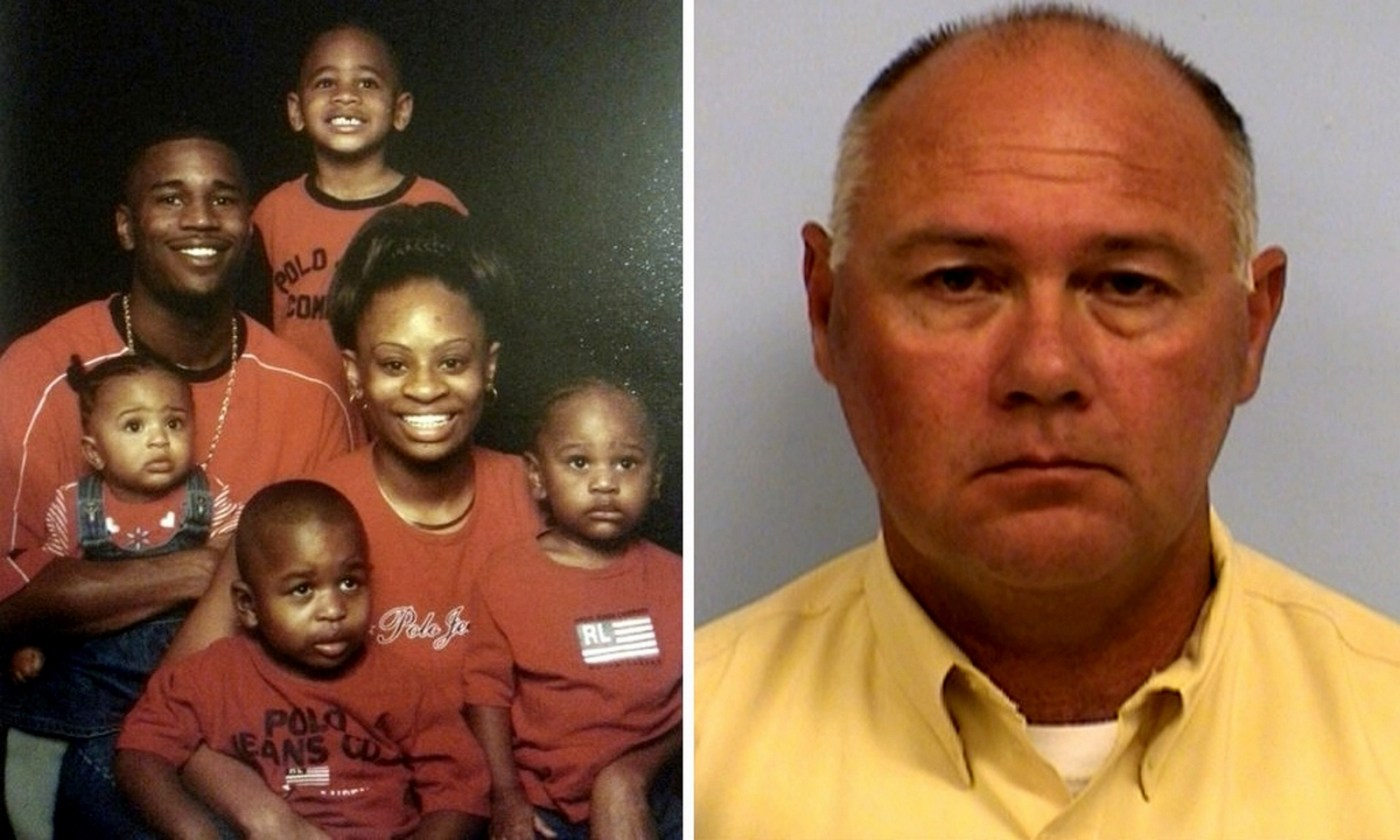 Larry Jackson Jr (left) was caught and shot by Charles Kleinert (right) after seeing him flee a bank. Photograph: Family photo; booking photo