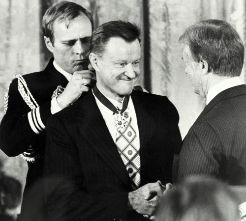 President Carter shakes hands with his national security adviser, Zbigniew Brzezinski, as he presents Brzezinski with the Medal of Freedom at a White House ceremony on Friday, Jan. 17, 1981 in Washington. Brzezinski was one of 15 recipients of the nation?s highest civilian awards, presented for service to U. S. security or national interests, world peace or cultural endeavors. (AP Photo)