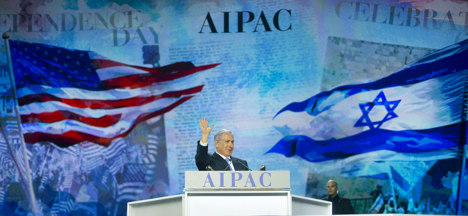 Israeli Prime Minister Benjamin Netanyahu waves to members of the audience before speaking at the American Israel Public Affairs Committee (AIPAC) Policy Conference in Washington, Monday, March 2, 2015. (AP Photo/Pablo Martinez Monsivais)