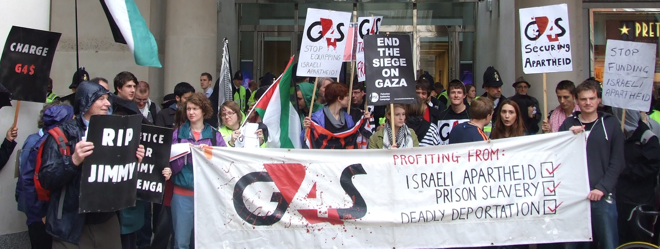 People protest G4S, a firm which manages security at Ofer Prison in the Occupied Palestine Territories, provides services and equipment to run checkpoints (Credit: StopG4S)