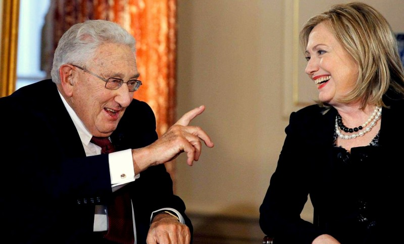 Former Secretary of State Henry Kissinger and Secretary of State Hillary Rodham Clinton talk during an interview by PBS's Charlie Rose, Wednesday, April 20, 2011, at the State Department in Washington. (AP Photo / Alex Brandon)