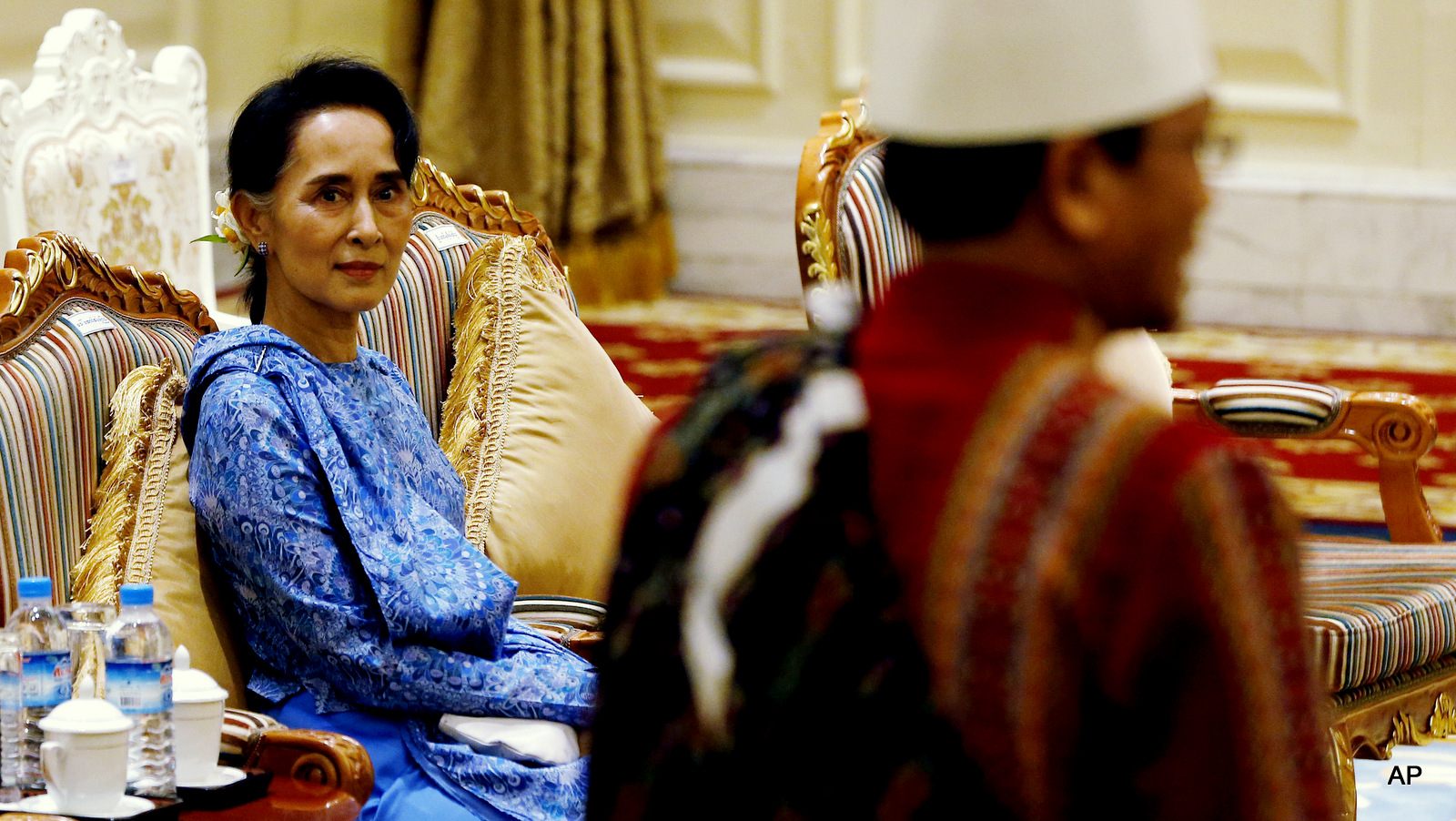 Aung San Suu Kyi attends the presidential handover ceremony in Naypyitaw, Myanmar.