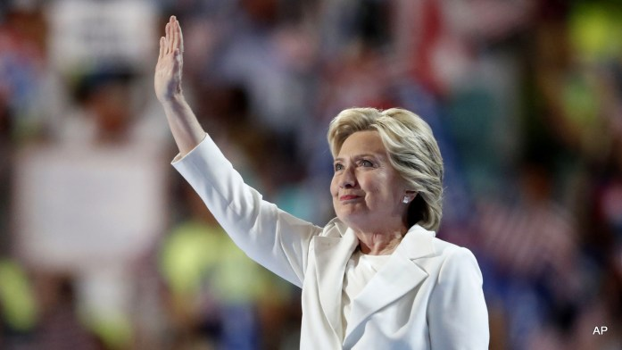 Democratic presidential nominee Hillary Clinton waves after taking the stage during the final day of the Democratic National Convention in Philadelphia , Thursday, July 28, 2016.