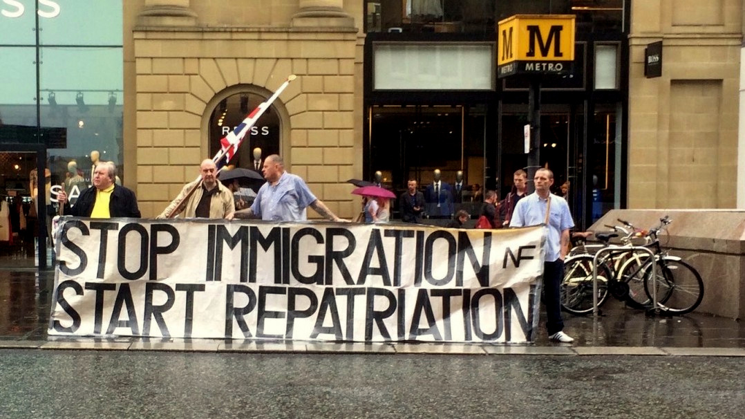 The English Defence League marchs in Newcastle on Saturday calling for the repatriation of immigrants in the wake of the EU referendum vote.