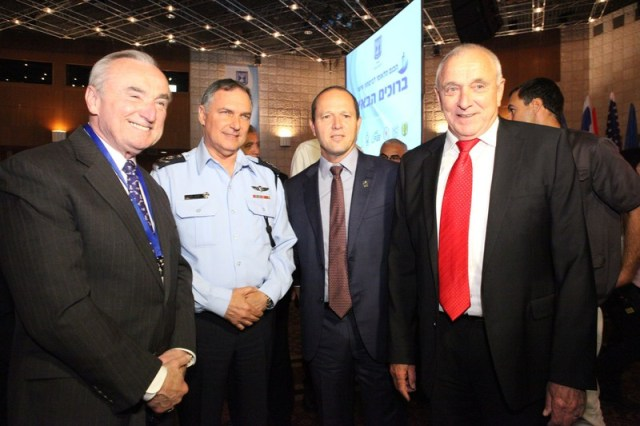 NYPD Commissioner William Bratton poses with Israeli officials at the First National Personal Security Conference in Israel.