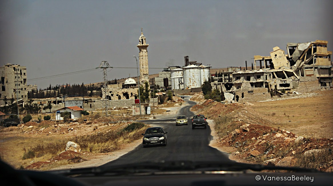 Passing through Khanaser, al-Safira, and the industrial city of Sheikh Najjar on the road to Aleppo. Photo by Vanessa Beeley.