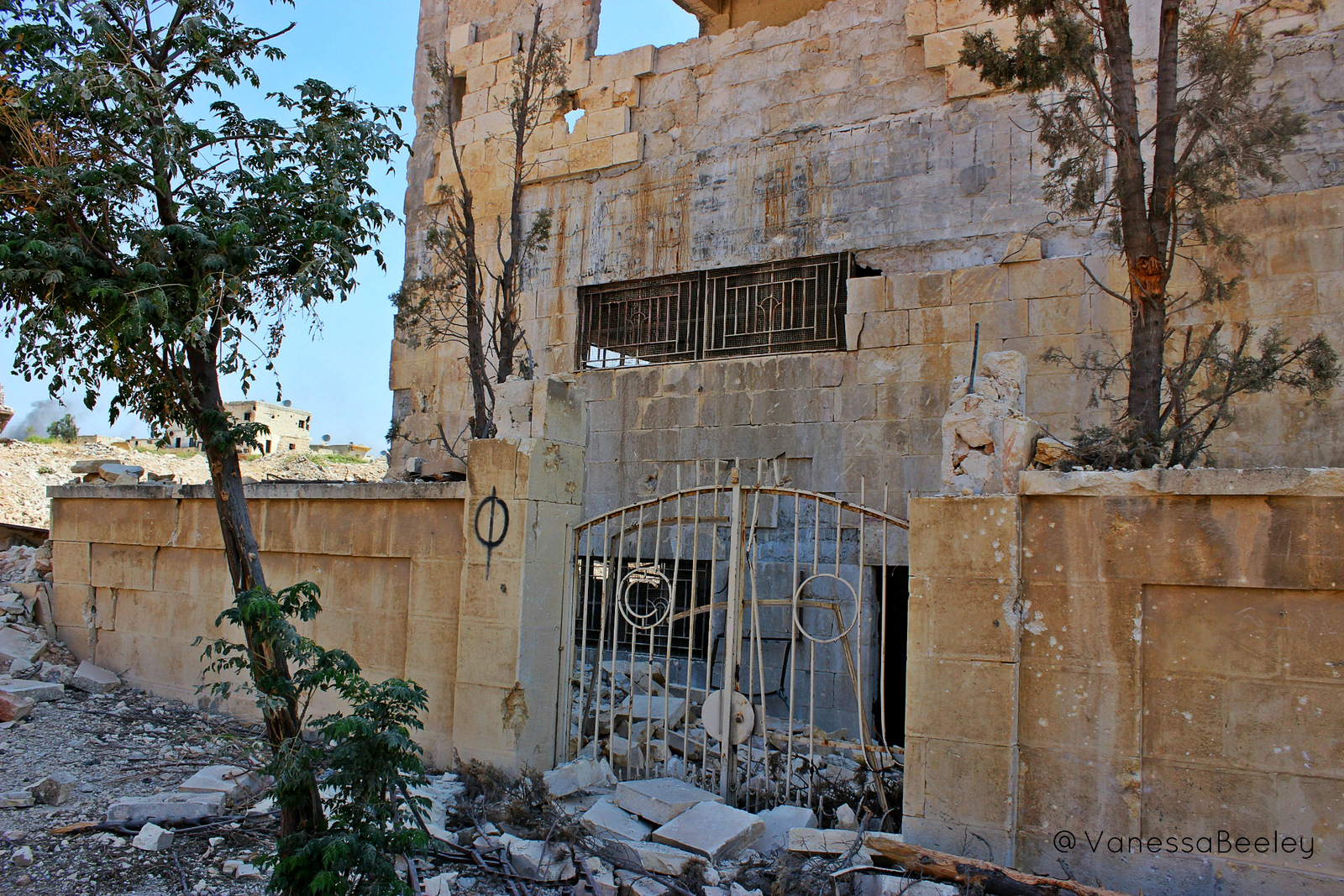 Remains of the headquarters of the 16th Division of the Free Syrian Army. We were told to be careful walking around inside because of the risk of uncleared IEDs that are left behind when terrorists flee an area they have occupied for any length of time. (Photo by Vanessa Beeley)