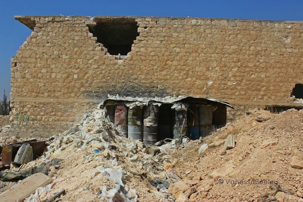 A barrel air-raid shelter or sniper nest created by terrorists in Bani Zaid. (Photo by Vanessa Beeley)