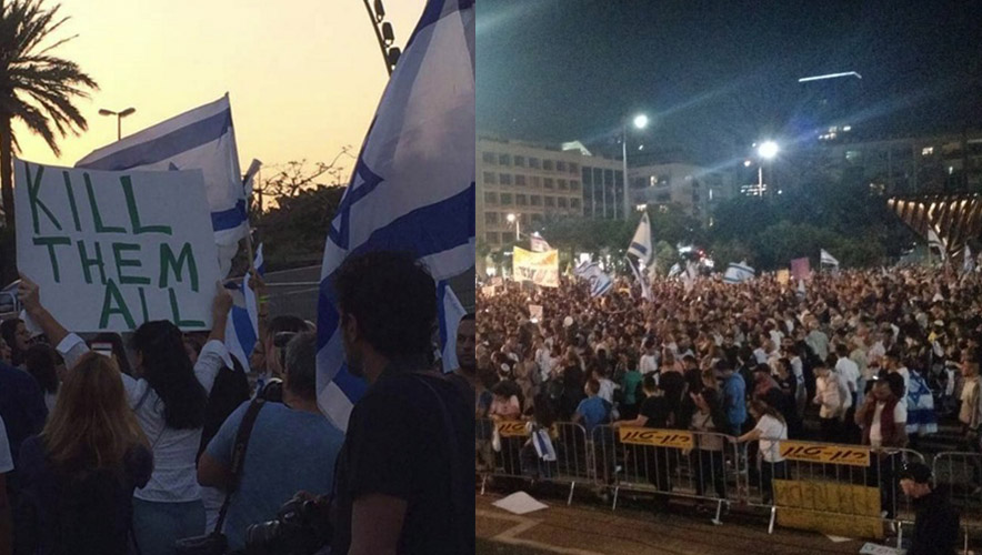The Tel Aviv rally—organized to support an Israeli soldier who murdered a wounded Palestinian by shooting him in the head as the victim lay on his back—was marked by chants and banners calling for mass murder.