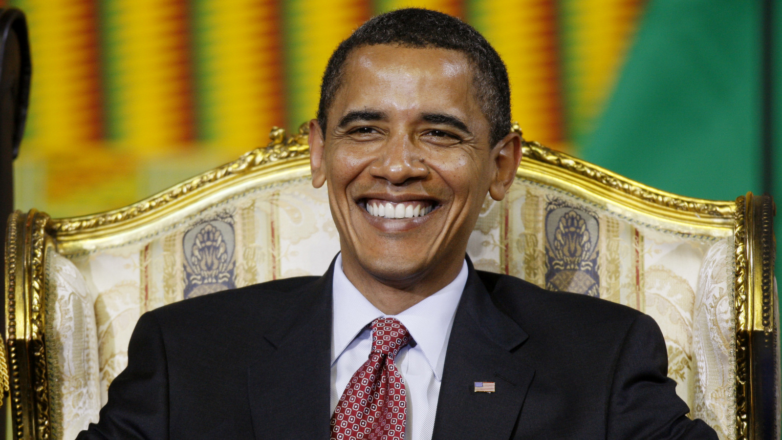 President Barack Obama smiles before he addresses the Ghanaian Parliament in Accra, Ghana, July 11, 2009. (AP/Charles Dharapak)