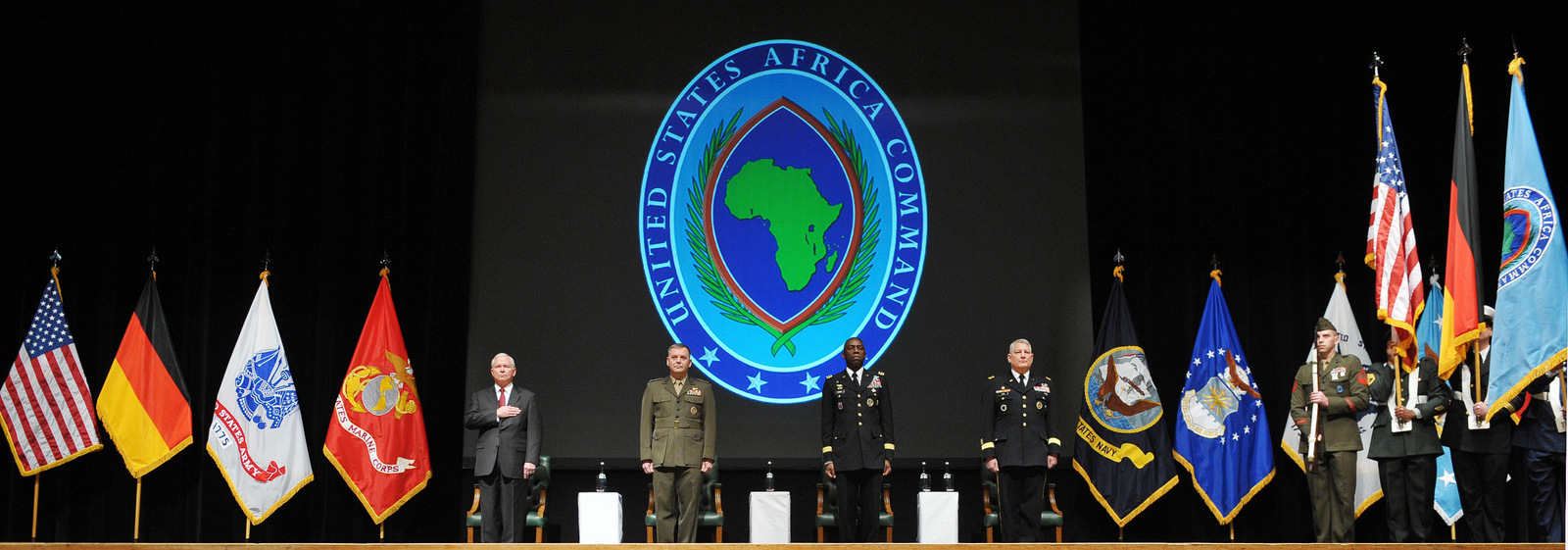 U.S. Defense Secretary Robert Gates, Vice Chairman of the Joint Chiefs of Staff Gen. James Cartwright, outgoing Africa Command commander Gen. William Ward, and the new Africa Command commander Gen. Carter Ham, center from left, take part in the AFRICOM change of command ceremony at the City Hall in Sindelfingen near Stuttgart, Germany, Wednesday, March 9, 2011. (AP/Mandel Ngan)