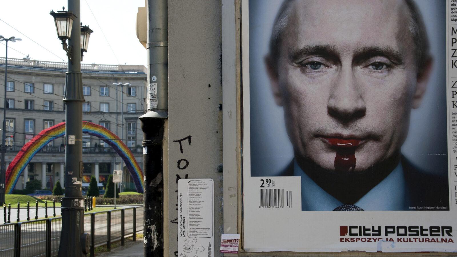 Street art in Warsaw, Poland depicting Russian President Vladimir Putin. (Photo: Alberto Cabello/Flickr CC)