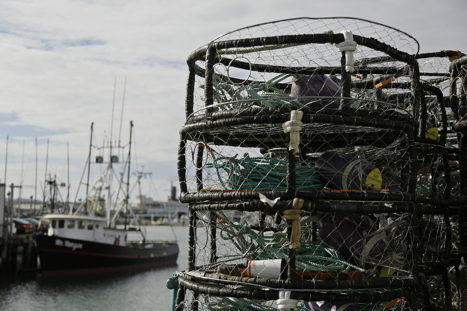 Crab pots are stacked along a pier at Fisherman's Wharf, Thursday, Nov. 5, 2015, in San Francisco after authorities delayed the Dungeness crab season and closed the rock crab fishery for most of California days after warning of dangerous levels of a neurotoxin found off the coast. (AP/Eric Risberg)