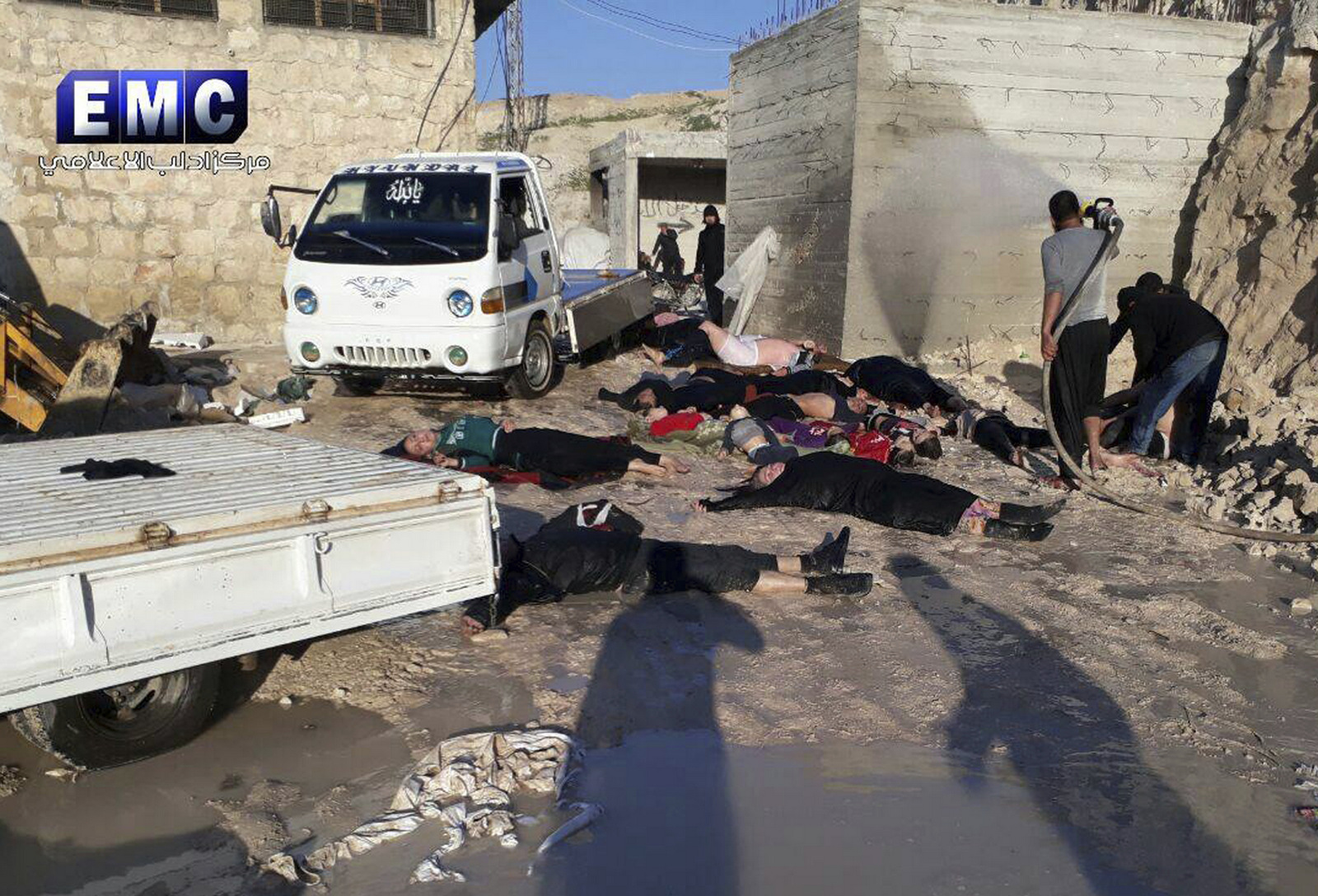 This frame grab from video provided on Tuesday April 4, 2017, by the Syrian anti-government group, the Edlib Media Center, shows victims of a suspected chemical attack, in the town of Khan Sheikhoun, northern Idlib province, Syria. (Edlib Media Center, via AP)