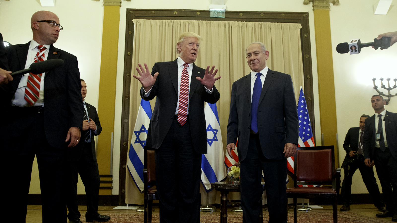 President Donald Trump talks to reporters before a meeting with Israeli Prime Minister Benjamin Netanyahu, May 22, 2017, in Jerusalem. (AP/Evan Vucci)