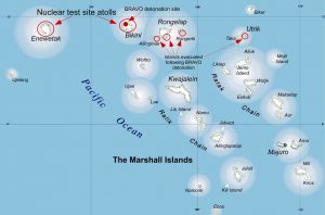 Between 1946 and 1958, the United States tested 66 nuclear weapons on or near Bikini and Enewetak atolls, which had previously been evacuated. Populations living elsewhere in the Marshall Islands archipelago were exposed to measurable levels of radioactive fallout from 20 of these tests.